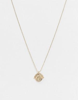 Золотистое ожерелье с подвеской в форме монеты Pieces-Золотистый