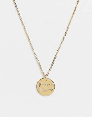 Позолоченное ожерелье с гравировкой знака близнецов на подвеске Z for Accessorize-Золотистый