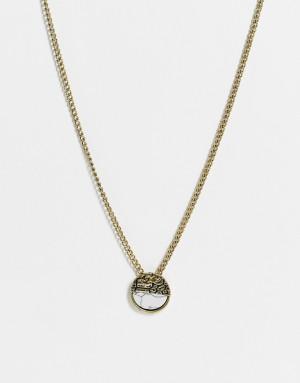 Золотистое ожерелье с подвеской-диском с треснутым камнем Icon Brand-Золотистый
