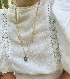 Золотистое ярусное ожерелье с цветным искусственным камнем и подвесками в виде звезд Reclaimed Vintage Inspired-Золотистый