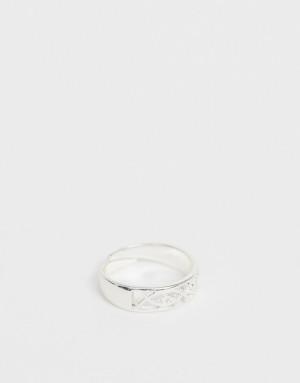 Регулируемое посеребренное кольцо Pilgrim-Серебристый