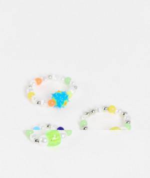 Набор из 3 колец из ярких разноцветных бусин ASOS DESIGN-Разноцветный