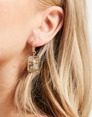 Золотистые серьги-кольца с квадратными подвесками со звездой и вставками из кристаллов Liars & Lovers-Золотистый